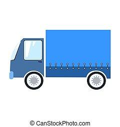 blå, leverans, vektor, lastbil, illustration