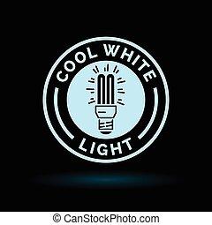 blå, lightbulb, lys, symbol., fluorescerende, hvid, køle, ikon