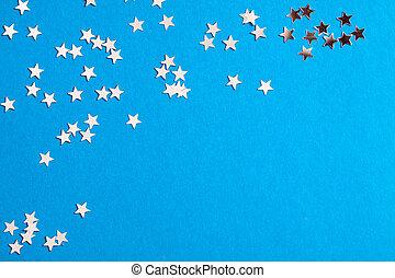 blå, litet, ram, bakgrund,  scatters, Stjärnor,  silver