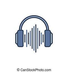 blå, ljud, begrepp, hörlurar, våg, vektor, icon., underteckna
