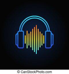 blå, ljud, skissera, hörlurar, våg, vektor, ikon