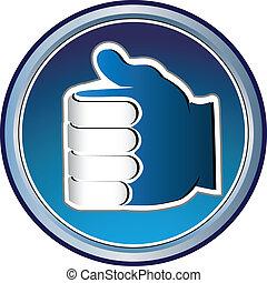 blå, logo, hånd, ikon