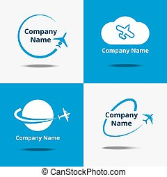 blå, logo, vektor, flykt, set., luft hyvla, bakgrund, undertecknar, logo, resor, eller, airplane, resa