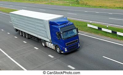 blå, lorry, med, grå, släpvagn, (upper, view)
