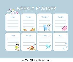 blå, lurar, schema, planläggare, lätt, noteringen, dagligen, vektor, plats, illustration, kalender, varje vecka, organisatör, mall