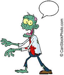 blå, lycklig, zombie, tecknad film