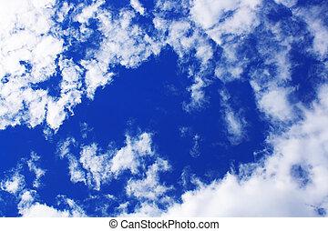 blå, lys himmel, farverig, baggrund