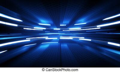 blå, lysande, teknologi, bakgrund, glöd