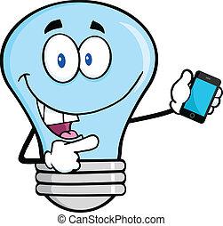 blå lyse, pære, hos, en, bevægelig telefoner.