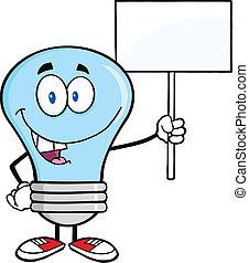 blå lyse, pære, hos, en, blank underskriv