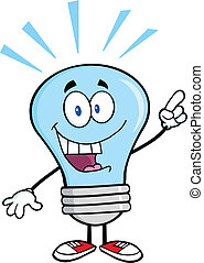 blå lyse, pære, hos, en, lys ide