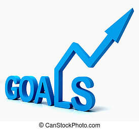 blå, mål, ord, visar, objektiv, hopp, och, framtid