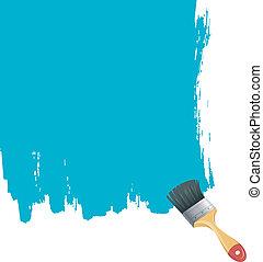 blå måla, plaska, borsta