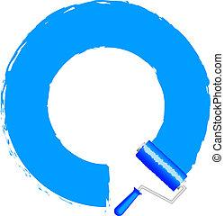 blå måla, ram, -, roller