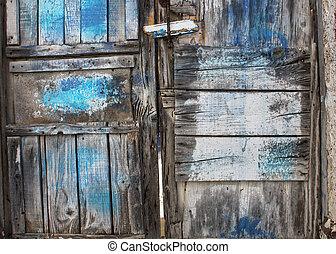 blå måla, rutten, dörr, gammal