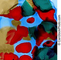 blå, målad, abstrakt, fläckar, grön röd