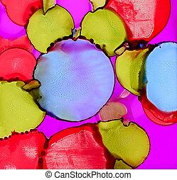blå, målad, abstrakt, fläckar, purpur, grön röd