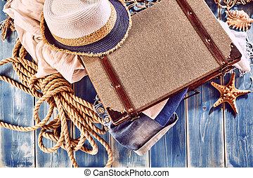 blå, målad, rep, ved, resväska, hatt