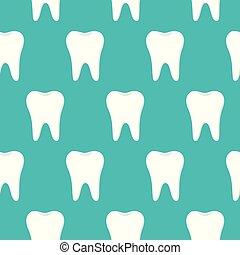 blå, mönster, dental, seamless, vektor, bakgrund, tänder, vit