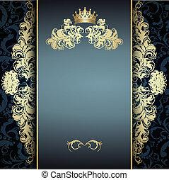 blå, mönster, elegant, gyllene