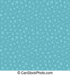 blå, mönster, medicinsk, seamless