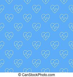 blå, mönster, seamless, vektor, bakgrund, hjärt-, eller, cykel