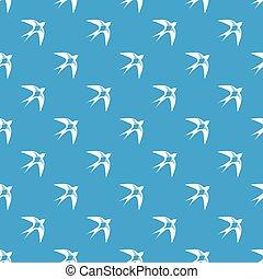 blå, mönster, svälja, vektor, seamless