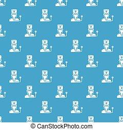 blå, mönster, vektor, seamless, läkare