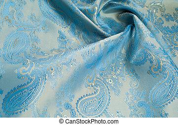 blå, mönstra väv, bakgrund., silke, struktur