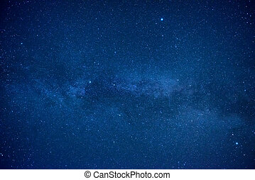 blå, mörk, natt himmel, med, många, stjärnor