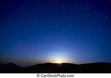 blå, mörk, natt himmel, med, stjärnor