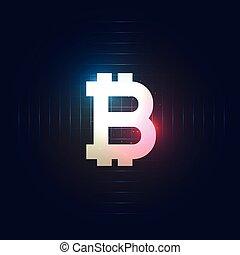 blå, mörk, symbol, bitcoin, bakgrund