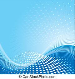 blå, mønster, baggrund, bølge