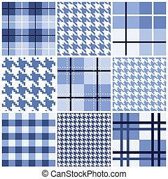 blå, mønster, sæt, seamless