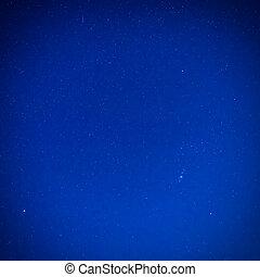 blå, mørk himmel, stjerner, nat