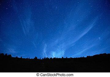 blå, mørke, nat himmel, hos, stars.