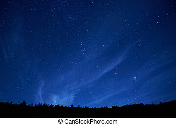 blå, mørke, nat himmel, stars.