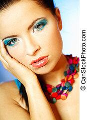 blå, makeup