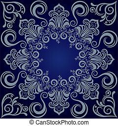 blå, mandala, baggrund