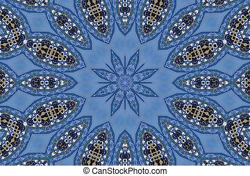 blå, mandala, stjärna
