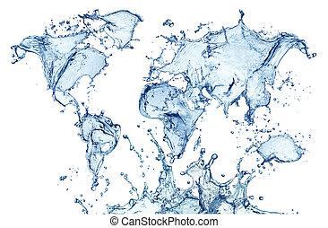 blå, map), isolerat, vatten, (world, plaska