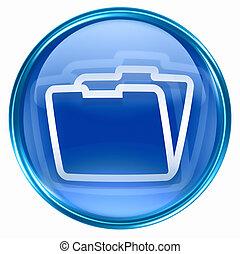 blå, mapp, ikon