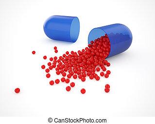 blå, medicinsk, pill