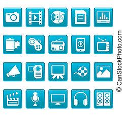 blå, medier, kvadraterer, iconerne