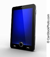 blå, mobiltelefon, avskärma, -, flott