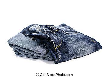 blå, mode, jeans, kläder, skum fond, vit, välgörenhet