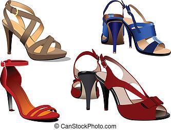 blå, mode, poster., skor, kvinna, ve
