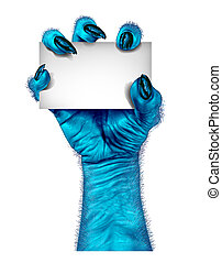 blå, monster, hand