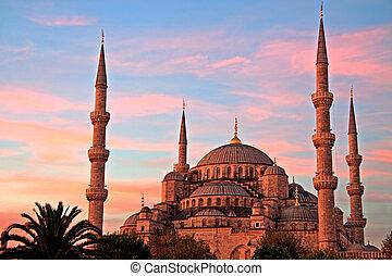 blå moské, hos, soluppgång, istanbul