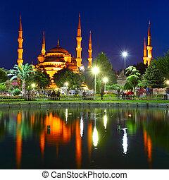 blå moské, med, reflexion, -, istanbul